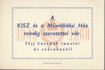 KISZ és a Művelődési Ház felhívása