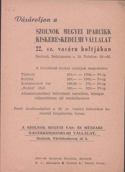 b9a18f73e4 Magyar Nemzeti Digitális Archívum • Szolnok megyei iparcikk ...