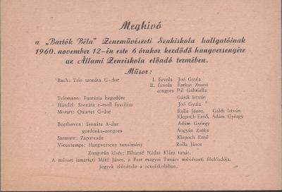 Meghívó a Bartók Béla Zeneművészeti Szakiskola hangversenyére