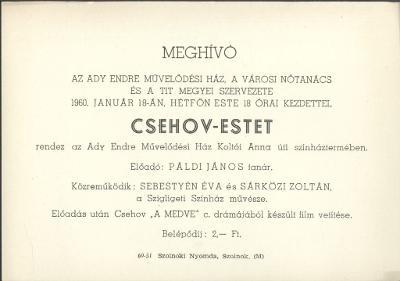 Meghívó Csehov-estre