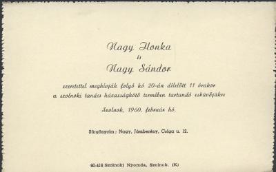 Nagy Ilonka és Nagy Sándor esküvői meghívója