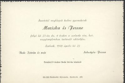 Bede Mariska és Sebestyén Ferenc esküvői meghívója