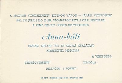 Anna-báli meghívó