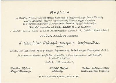 """Meghívó Dr. Sebestyén Mihály """"A társadalmi bíróságok szerepe a Szovjetunióban"""" című előadására"""