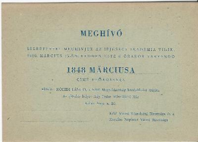 """Meghívó """"1848 Márciusa"""" című előadásra"""