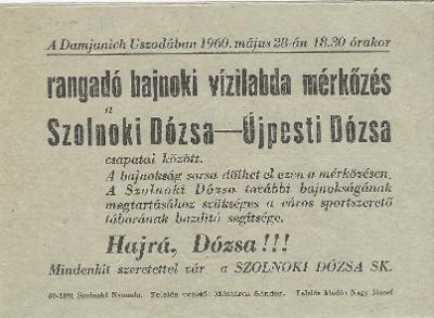 Rangadó bajnoki vízilabda mérkőzés a Szolnoki Dózsa és az Újpesti Dózsa csapatai között