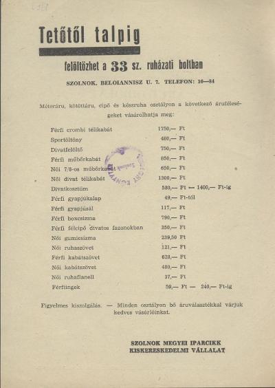 Szolnok megyei Iparcikk Kiskereskedelmi Vállalat 33. sz. ruházati boltjának tájékoztatója