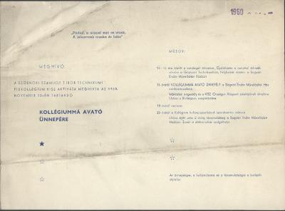 Meghívó a szolnoki Szamuely Tibor Általános Gépipari Technikumi Fiúkollégium kollégiummá avató ünnepére
