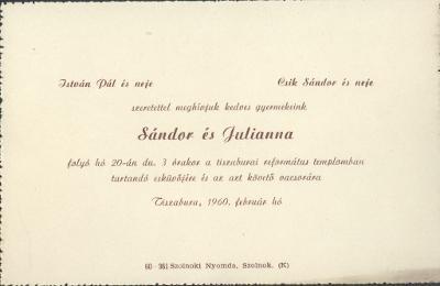 Sándor és Julianna esküvői meghívója