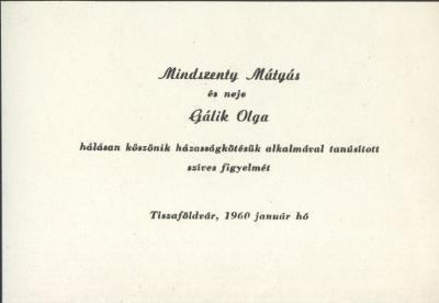 Esküvői köszönőkártya, mely szerint Mindszenty Mátyás és neje Gálik Olga köszönik az esküvőjükön való részvételt