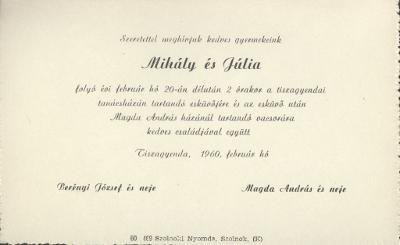 Mihály és Júlia esküvői meghívója