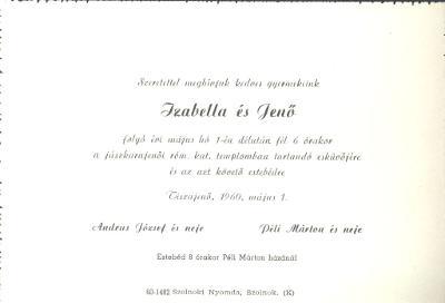 Izabella és Jenő esküvői meghívója