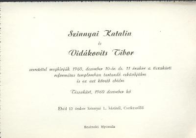 Szinnyai Katalin és Vidákovits Tibor esküvői meghívója