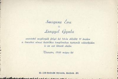 Smigura Éva és Lengyel Gyula esküvői meghívója