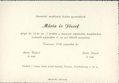 Samu Mária és Szelei József esküvői meghívója
