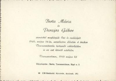 Berta Mária és Parajos Gábor esküvői meghívója