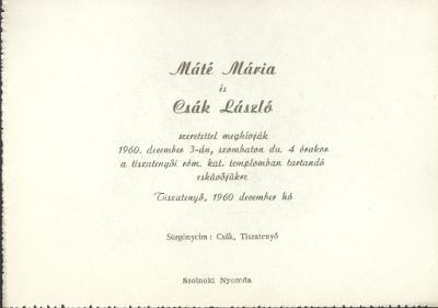 Máté Mária és Csák László esküvői meghívója