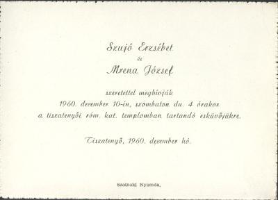 Szujó Erzsébet és Mrena József esküvői meghívója
