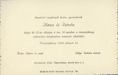 Fejes Ilona és Sályi István esküvői meghívója