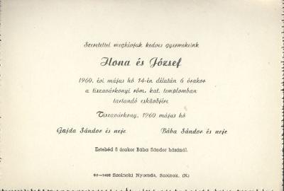 Ilona és József esküvői meghívója
