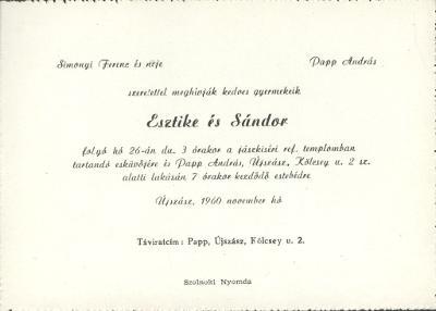 Esztike és Sándor esküvői meghívója
