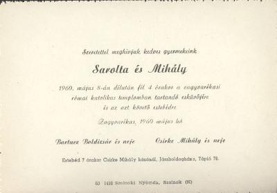 Bartucz Sarolta és Csirke Mihály esküvői meghívója
