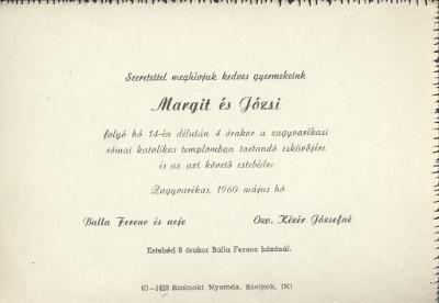 Balla Margit és Kézér Józsi esküvői meghívója