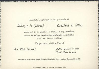 Balla Margit és Kézér József valamint Balla Erzsébet és Básti Illés esküvői meghívója