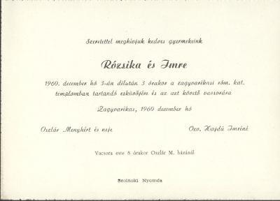 Rózsika és Imre esküvői meghívója