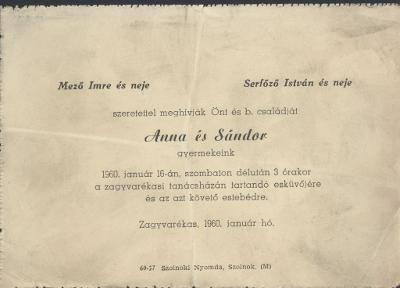 Anna és Sándor esküvői meghívója
