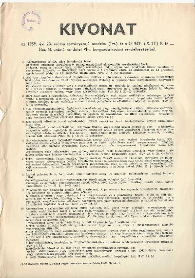 Kivonat az 1959. évi 23. számú törvényerejű rendelet borgazdálkodási rendelkezéseiből