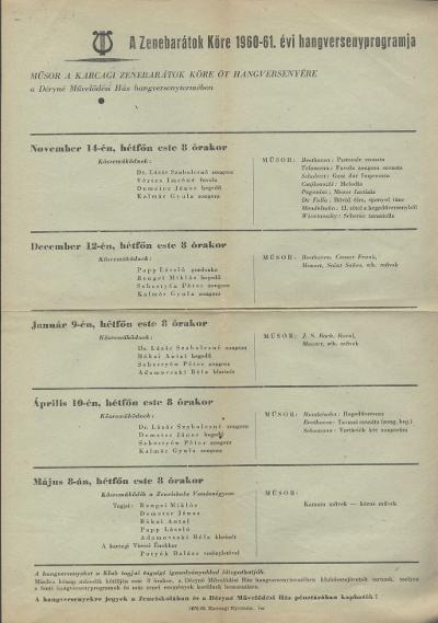 A Zenebarátok Köre 1960-61. évi hangversenyprogramja
