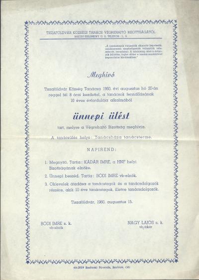 Meghívó Tiszaföldvár Községi Tanácsa ünnepi ülésére