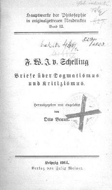F. W. J. Schelling: Briefe über Dogmatismus und Kritizismus
