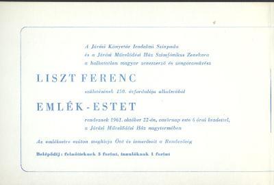Meghívó Liszt Ferenc emlékestre