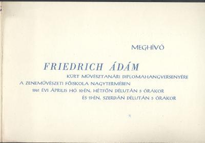 Meghívó Friedrich Ádám diplomahangversenyére