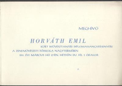 Meghívó Horváth Emil diplomahangversenyére