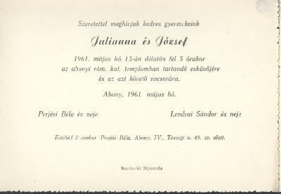 Julianna és József esküvői meghívója