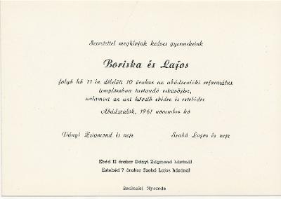 Dányi Boriska és Szabó Lajos esküvői meghívója