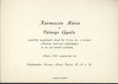 Karmazsin Mária és Czinege Gyula esküvői meghívója