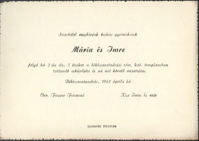 Ficzere Mária és Kiss Imre esküvői meghívója