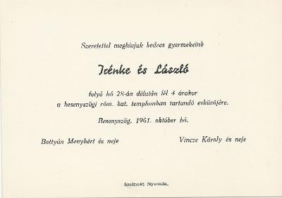 Irénke és László esküvői meghívója