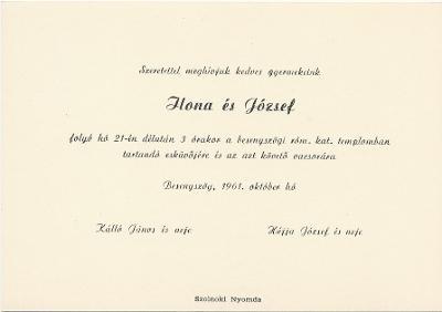 Kálló Ilona és Héjja József esküvői meghívója