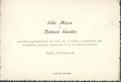 Sóki Mária és Katona Sándor esküvői meghívója