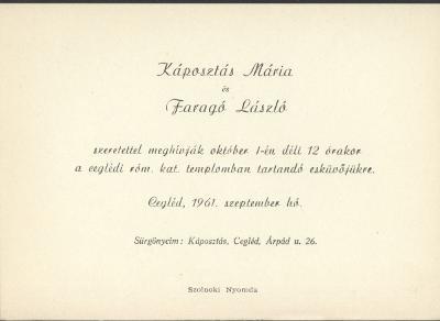 Káposztás Mária és Faragó László esküvői meghívója