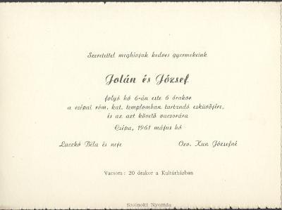 Laczkó Jolán és Kun József esküvői meghívója