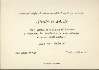 Kiss Gizella és Szabó László esküvői meghívója