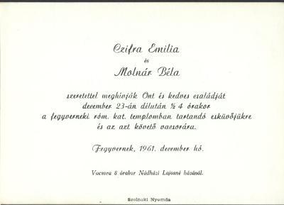 Czifra Emília és Molnár Béla esküvői meghívója