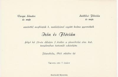 Varga Irén és Szöllősi Flórián esküvői meghívója