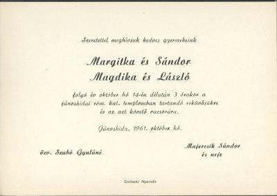 Margitka és Sándor, valamint Magdika és László esküvői meghívója